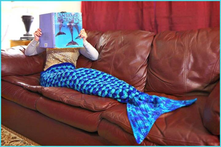 Easy Free Crochet Mermaid Tail Afghan 3 Sizes Pattern