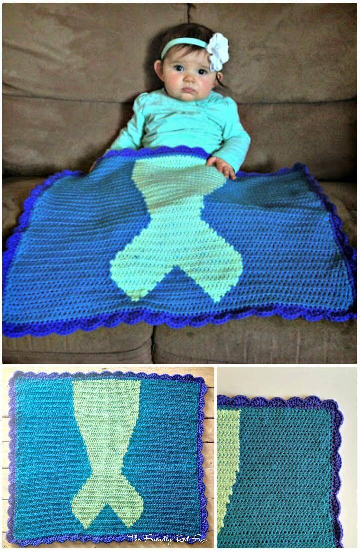 How To Free Crochet Mermaid Tail Blanket Pattern