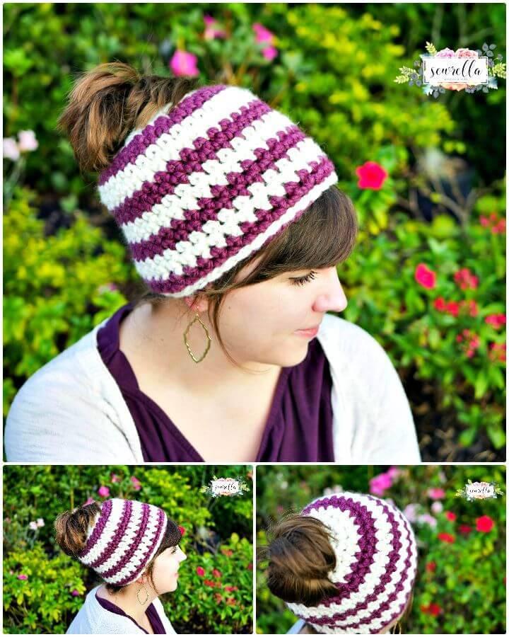 1 hour Crochet Messy Bun Beanie In  - Free Pattern