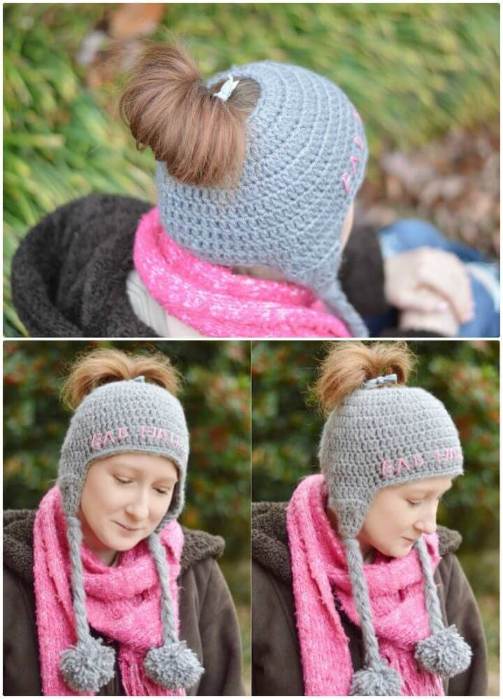 Easy Free Crochet Messy Bun Ear Flap Hat Pattern