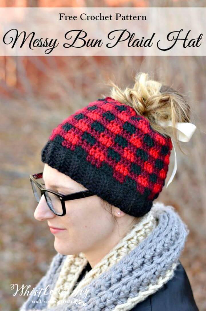 Easy Free Crochet Messy Bun Plaid Hat Pattern