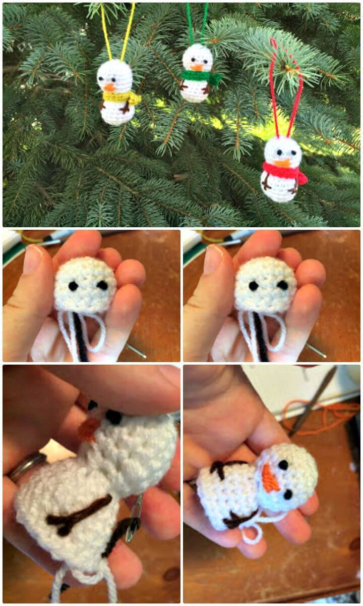 Free Crochet Mini Snowman Ornament Pattern