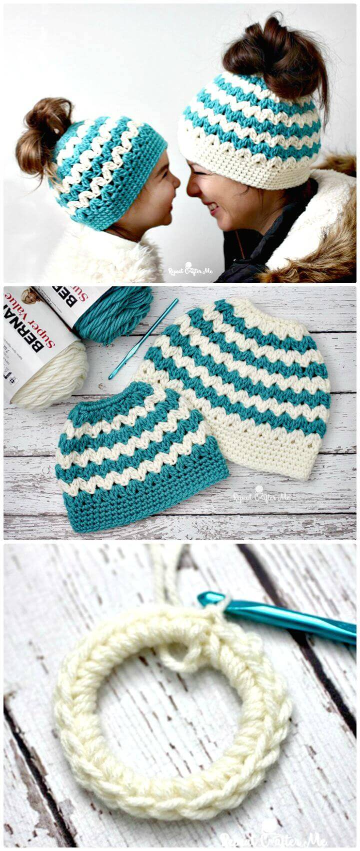 Easy Free Crochet Mommy And Me Messy Bun Hats Pattern