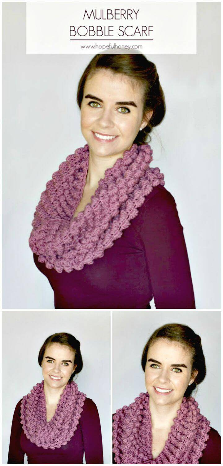 How To Free Crochet Mulberry Bobble Scarf Pattern