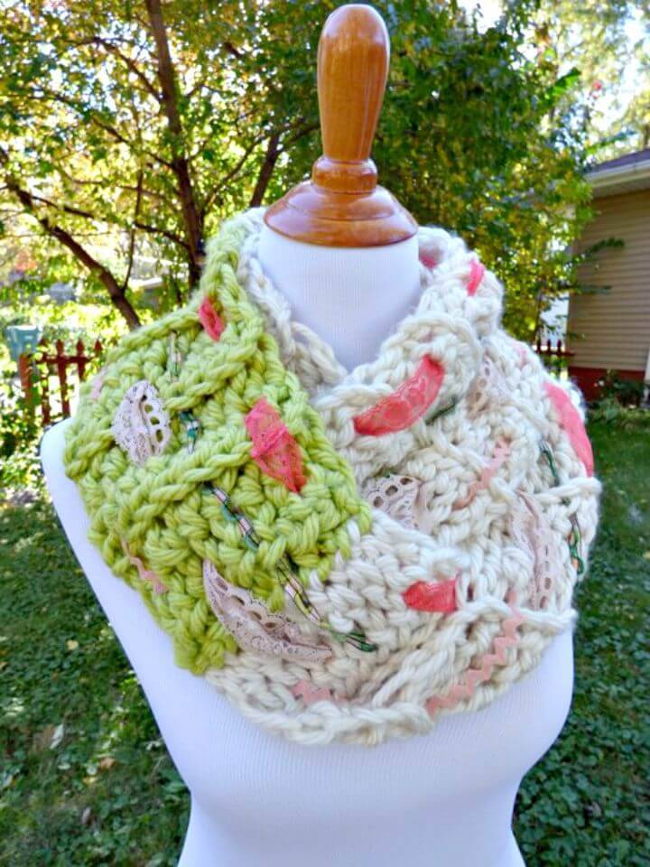 Easy Free Crochet Multi-media Infinity Scarf Pattern