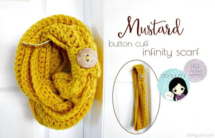How To Free Crochet Mustard Button Cuff Infinity Scarf Pattern