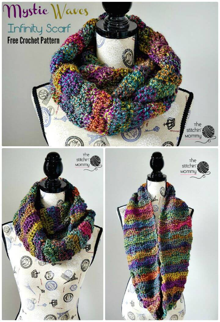 Crochet infinity scarf 74 free crochet scarf patterns diy crafts easy free crochet mystic waves infinity scarf pattern dt1010fo