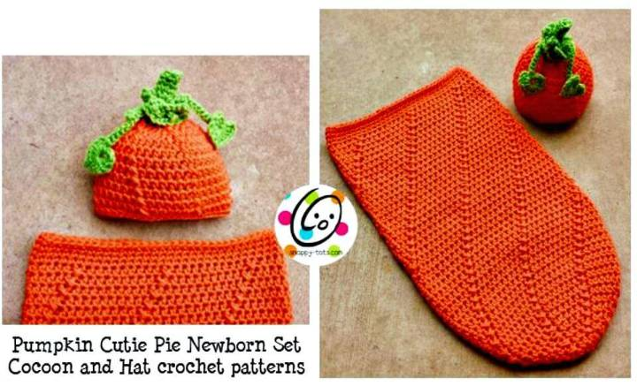 Easy Free Crochet Newborn Baby Pumpkin Hat And Cocoon Pattern