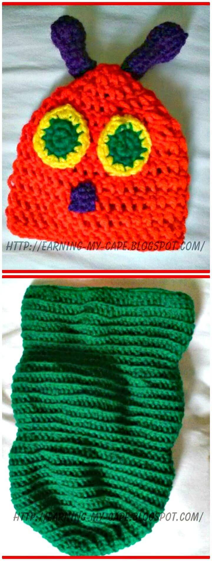 Super Cute Free Crochet Newborn Caterpillar Hat and Cocoon Pattern