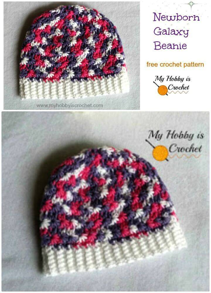 Easy Free Crochet Newborn Galaxy Beanie Pattern