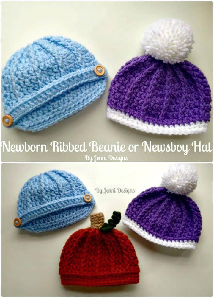 Crochet Newborn Ribbed Beanie Or Newsboy Hat Pattern