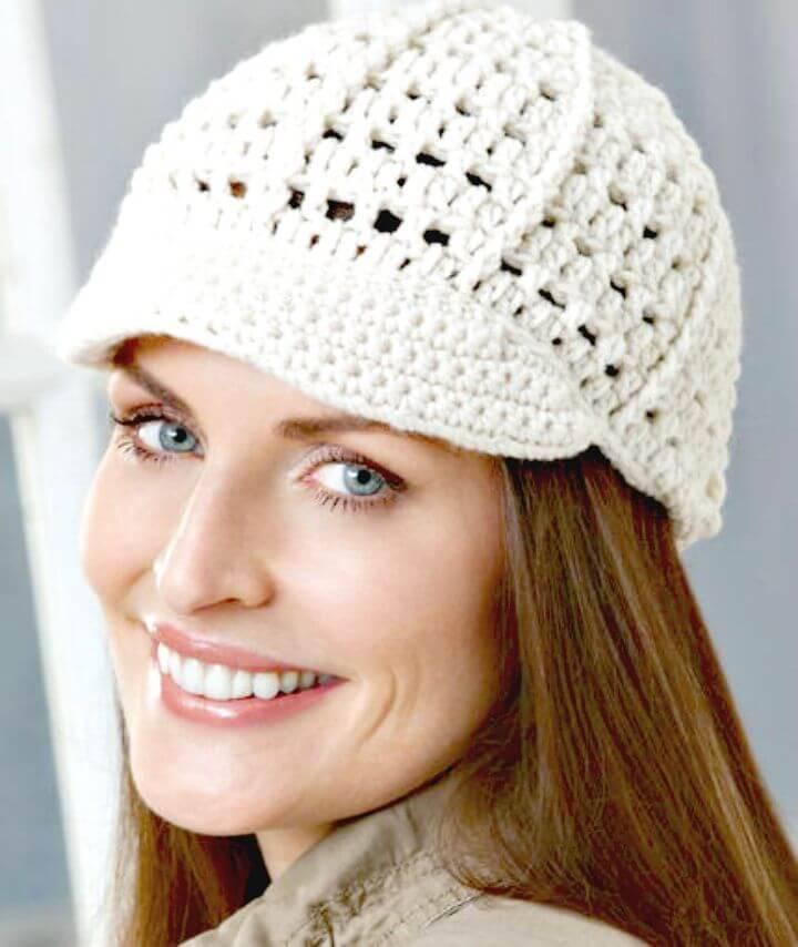 Crochet Newsboy Hat - Free Pattern