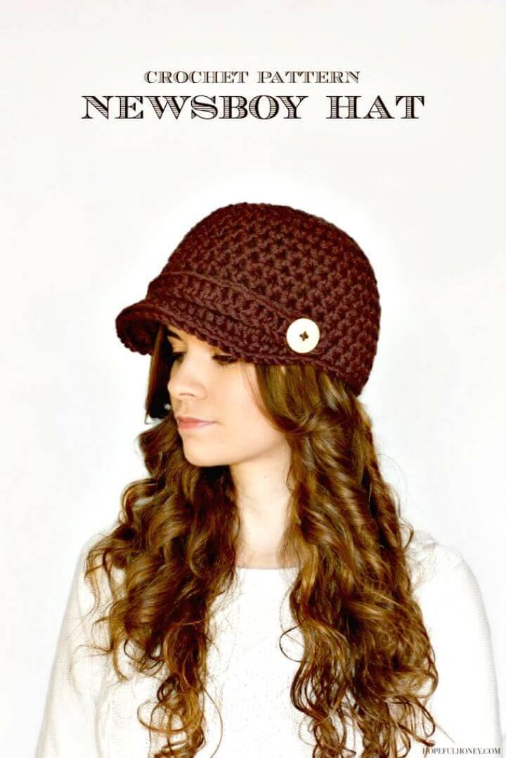 Easy Free Crochet Nifty Newsboy Hat Pattern