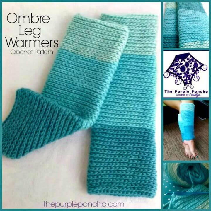 Easy Free Crochet Ombre Leg Warmers - Caron Cakes Yarn