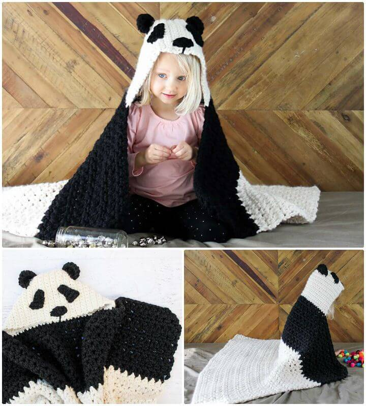 How To Free Crochet Panda Bear Hug Hooded Blanket Pattern