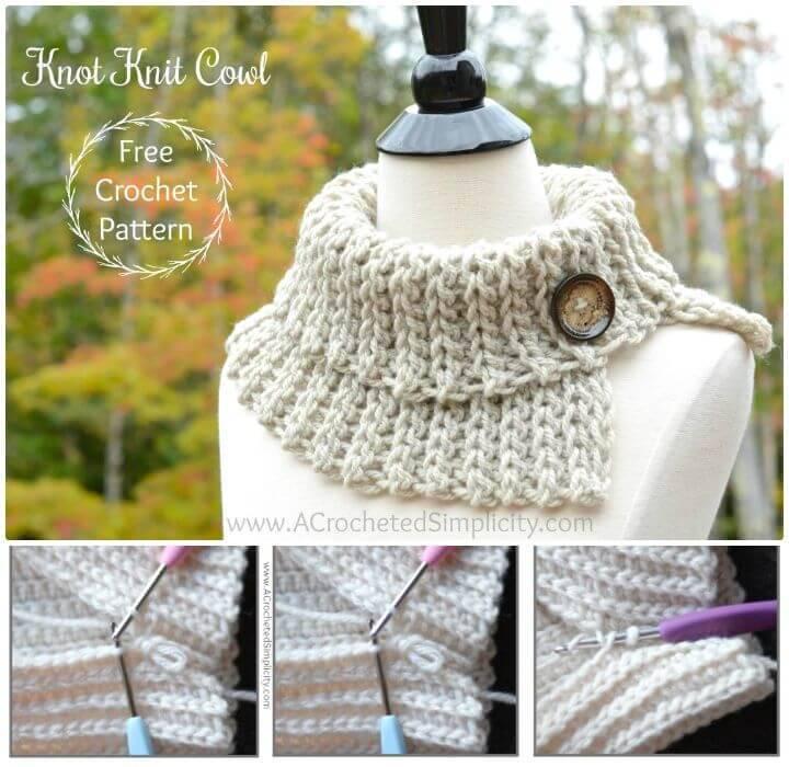 Free Crochet Knot Knit Cowl Pattern