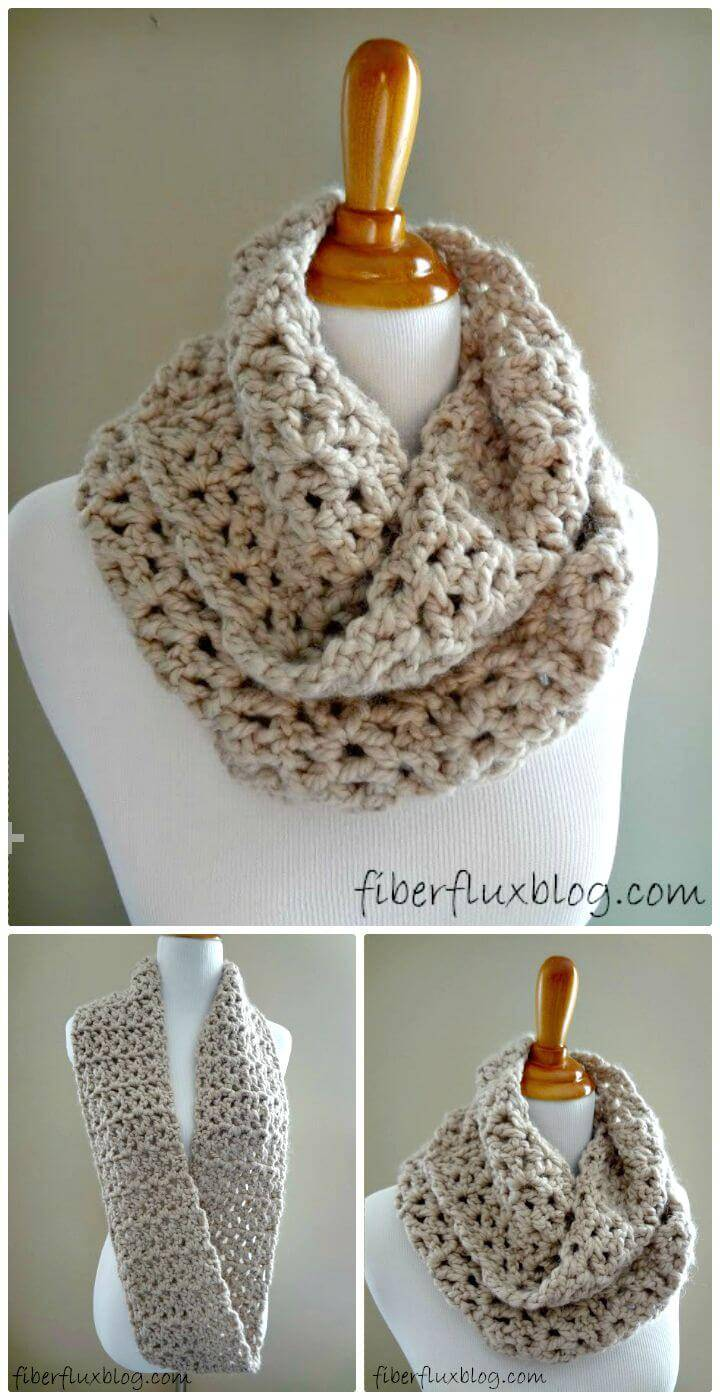 Easy Free Crochet Pavement Infinity Scarf Pattern