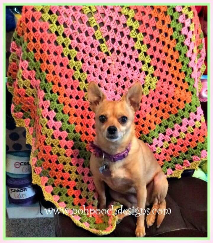 Free Crochet Picot Granny Spring Throw Crochet Pattern - Caron Cakes Yarn