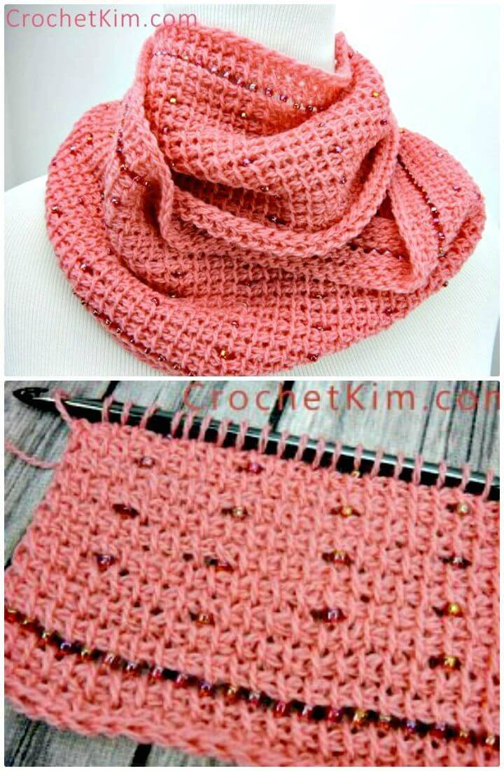 Easy Free Crochet Pink Fantasy Infinity Scarf Pattern