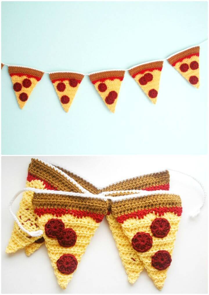 How To Free Crochet Pizza Garland Pattern