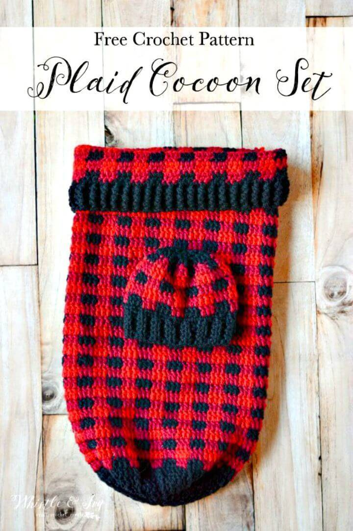 Easy Free Crochet Plaid Baby Cocoon And Hat Set Pattern