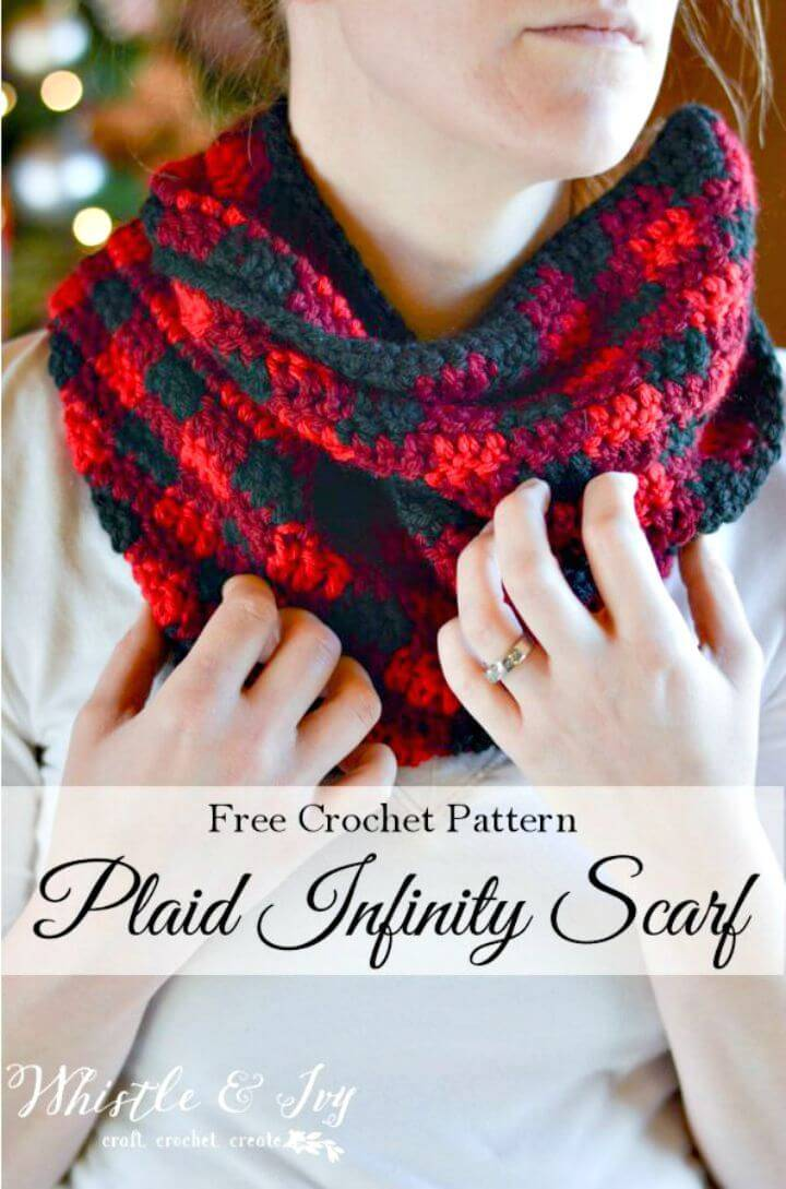 Easy Free Crochet Plaid Infinity Scarf Pattern