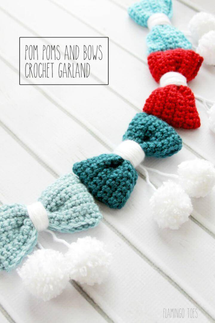 Free Crochet Pom Poms And Bows Crochet Garland Pattern