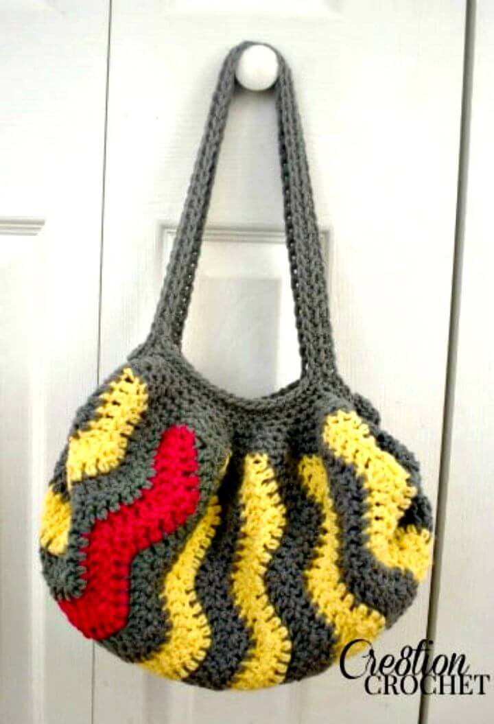 Easy Free Crochet Pop Of Pink Vertical Chevron Purse Pattern