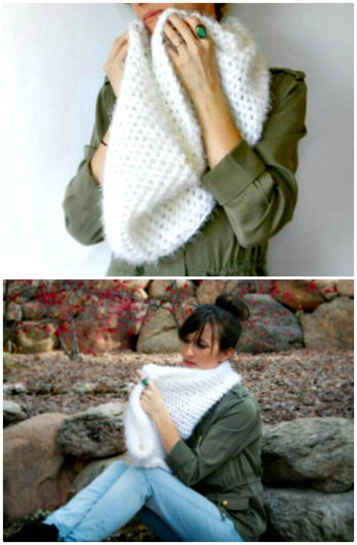 Free Crochet Powdered Sugar Infinity Scarf Pattern
