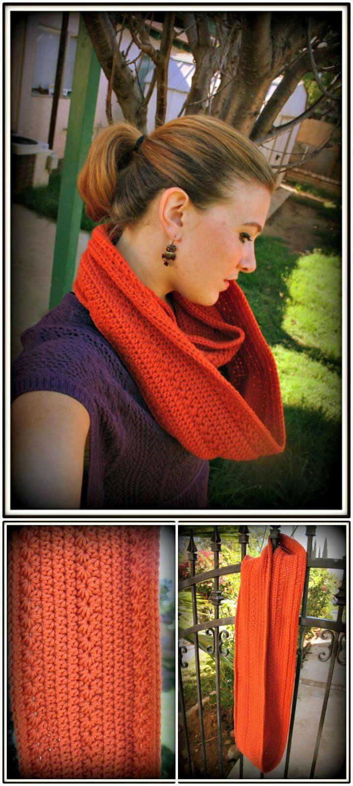 Easy Free Crochet Pumpkin Infinity Scarf Pattern