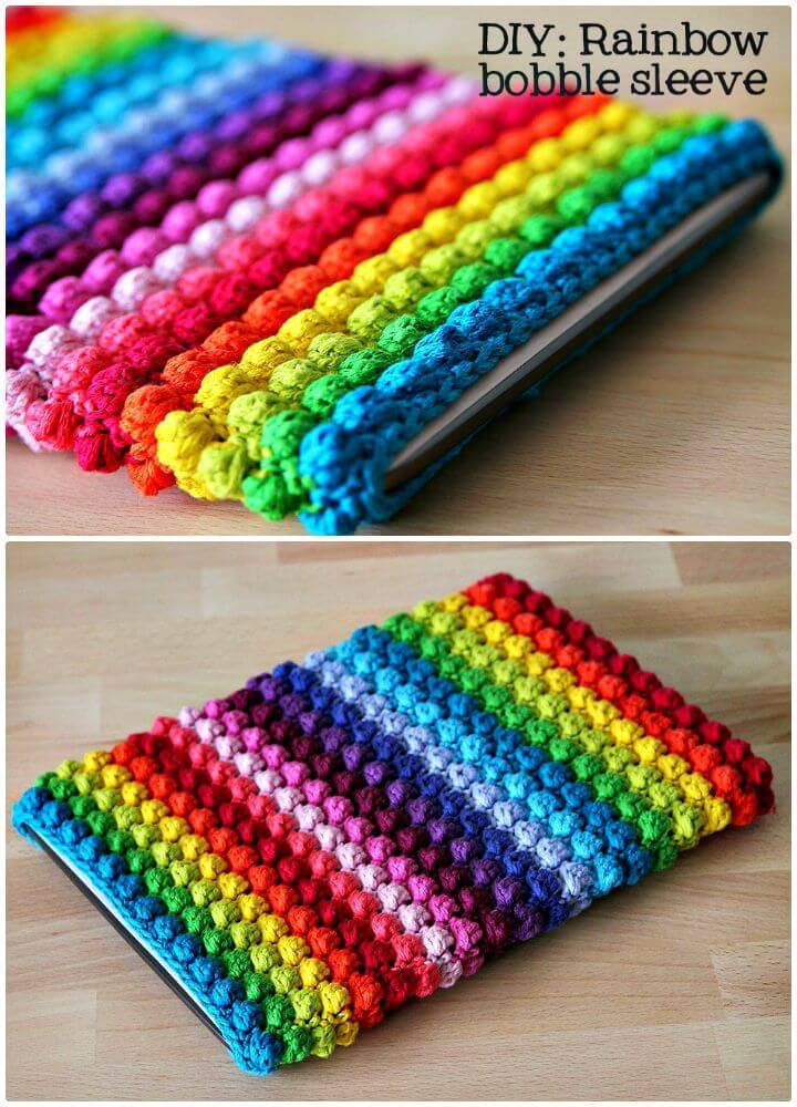Easy Free Crochet Rainbow Bobble Tablet Sleeve Pattern
