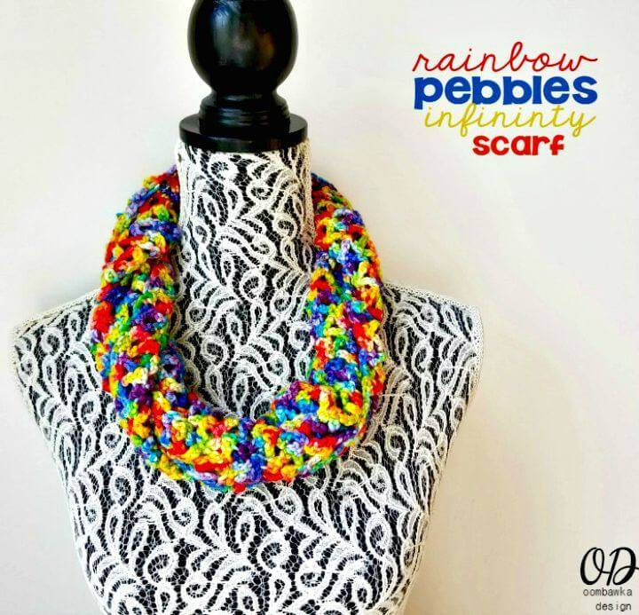Easy Free Crochet Rainbow Pebbles Infinity Scarf Pattern