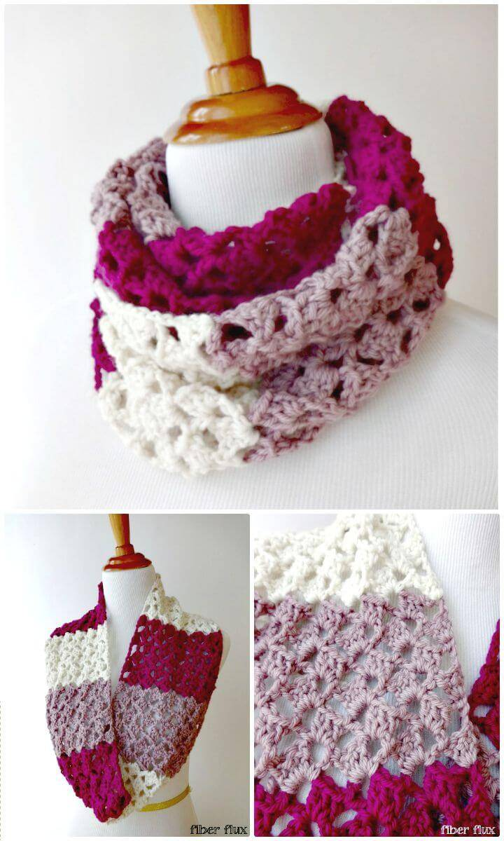 How To Free Crochet Raspberry Buttercream Infinity Scarf Pattern