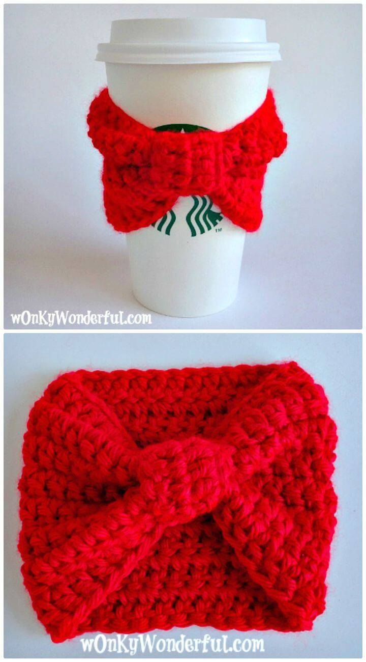 How To Free Crochet Red Bow Cup Cozy Pattern