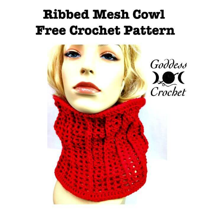 Easy Free Crochet Ribbed Mesh Cowl Pattern