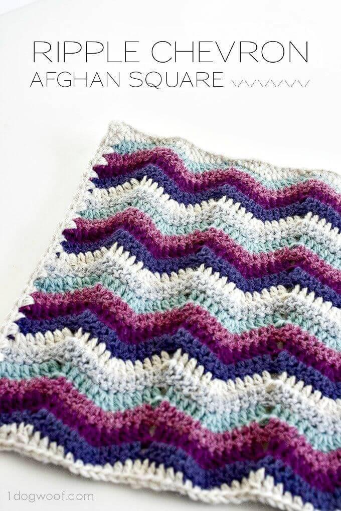 Crochet Ripple Chevron Afghan Square - Free Pattern