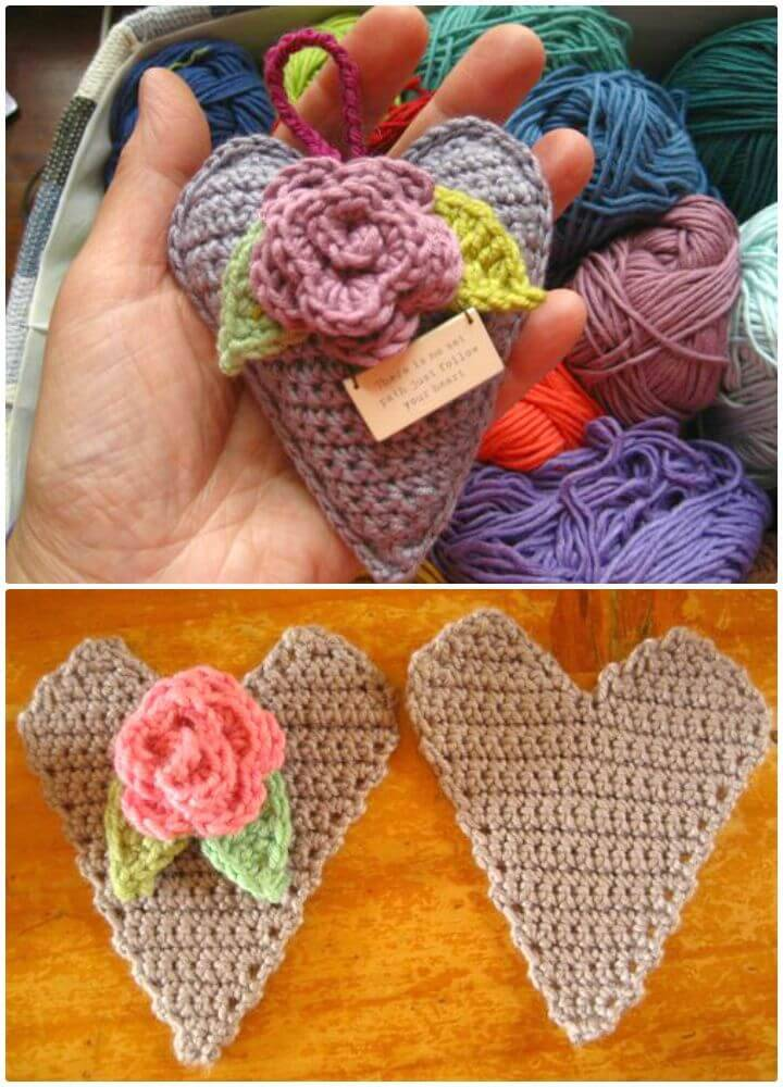 Free Crochet Rose Heart Hanger Pattern