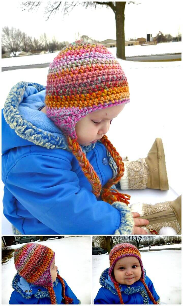 Easy Free Crochet Seamless Earflap Hat Pattern