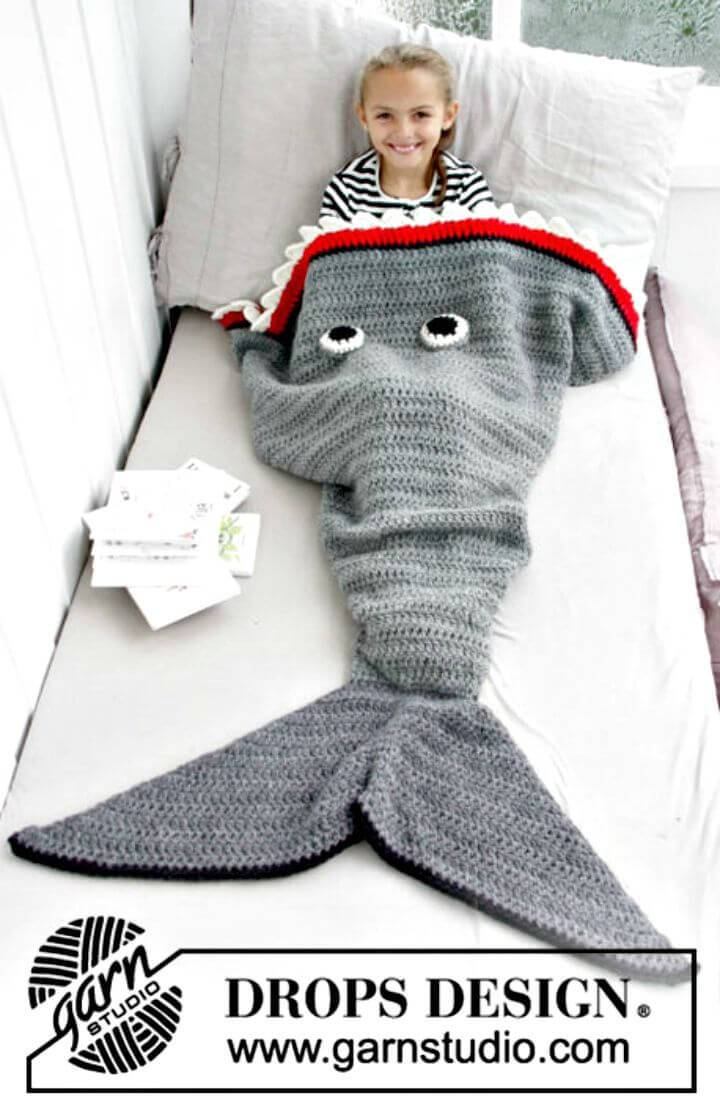 Easy Free Crochet Shark Attack Blanket Pattern