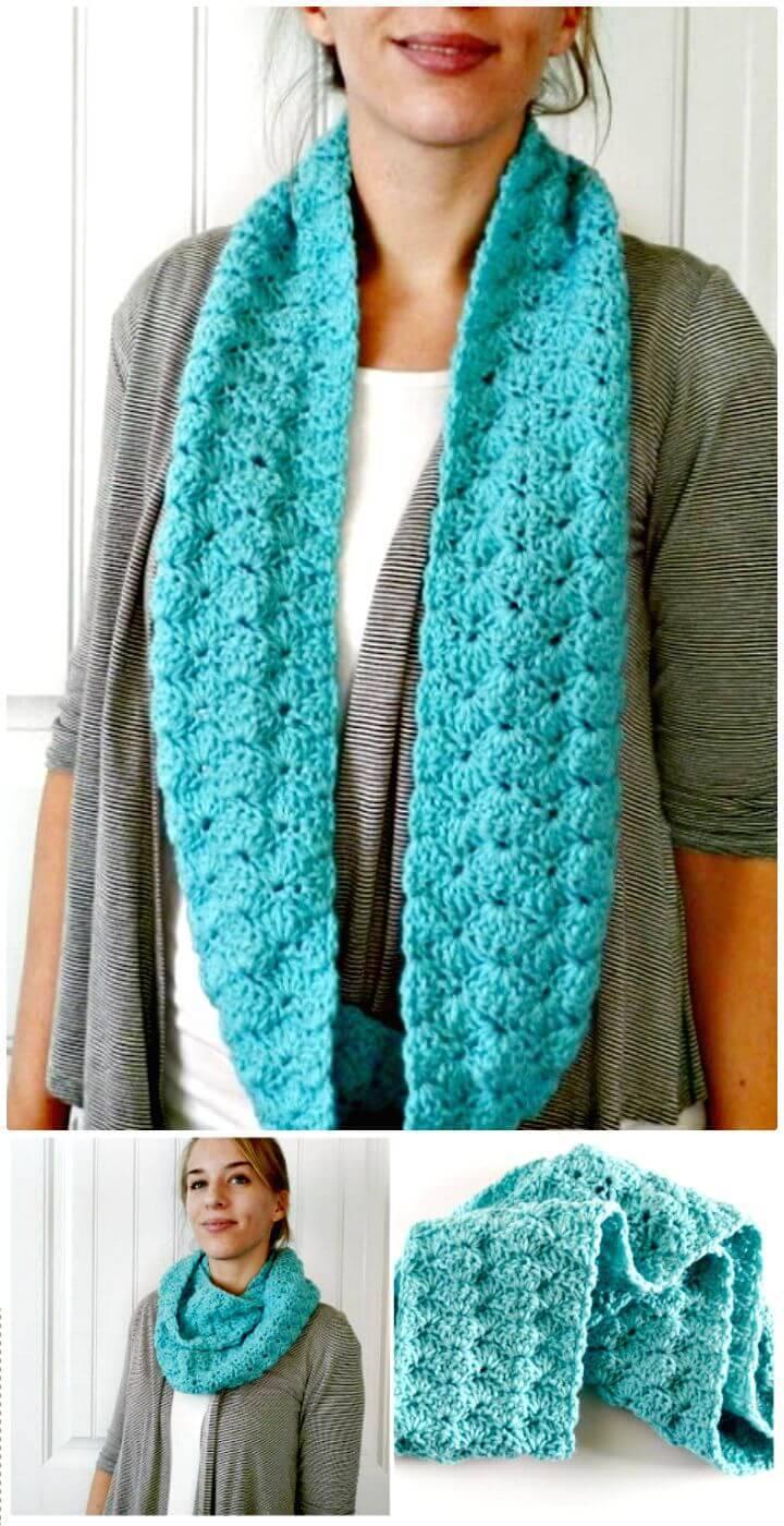 Cute Free Crochet Shell Infinity Scarf Pattern