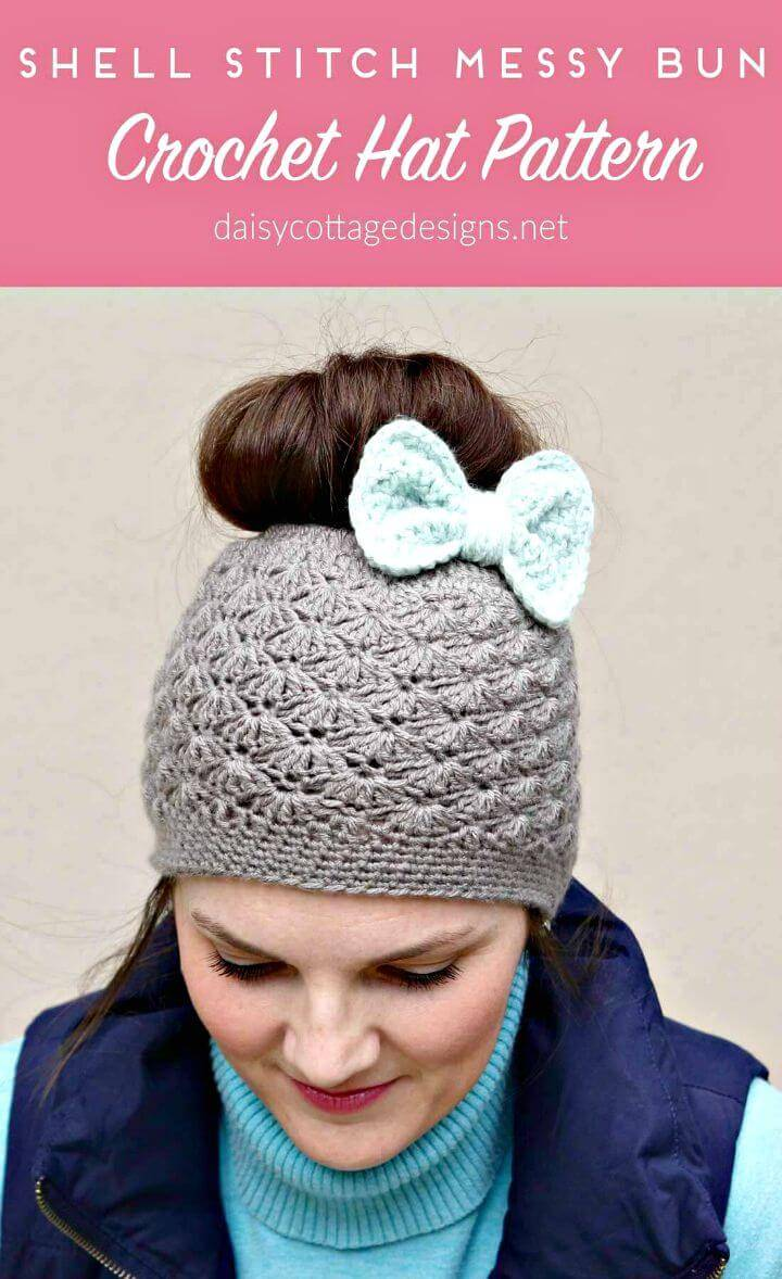 How To Free Crochet Shell Stitch Messy Bun Hat Pattern