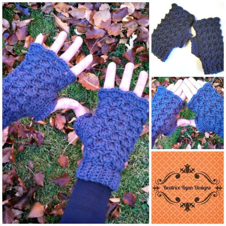 Beautiful Free Crochet Shells & Bobbles Finger Less Gloves Pattern