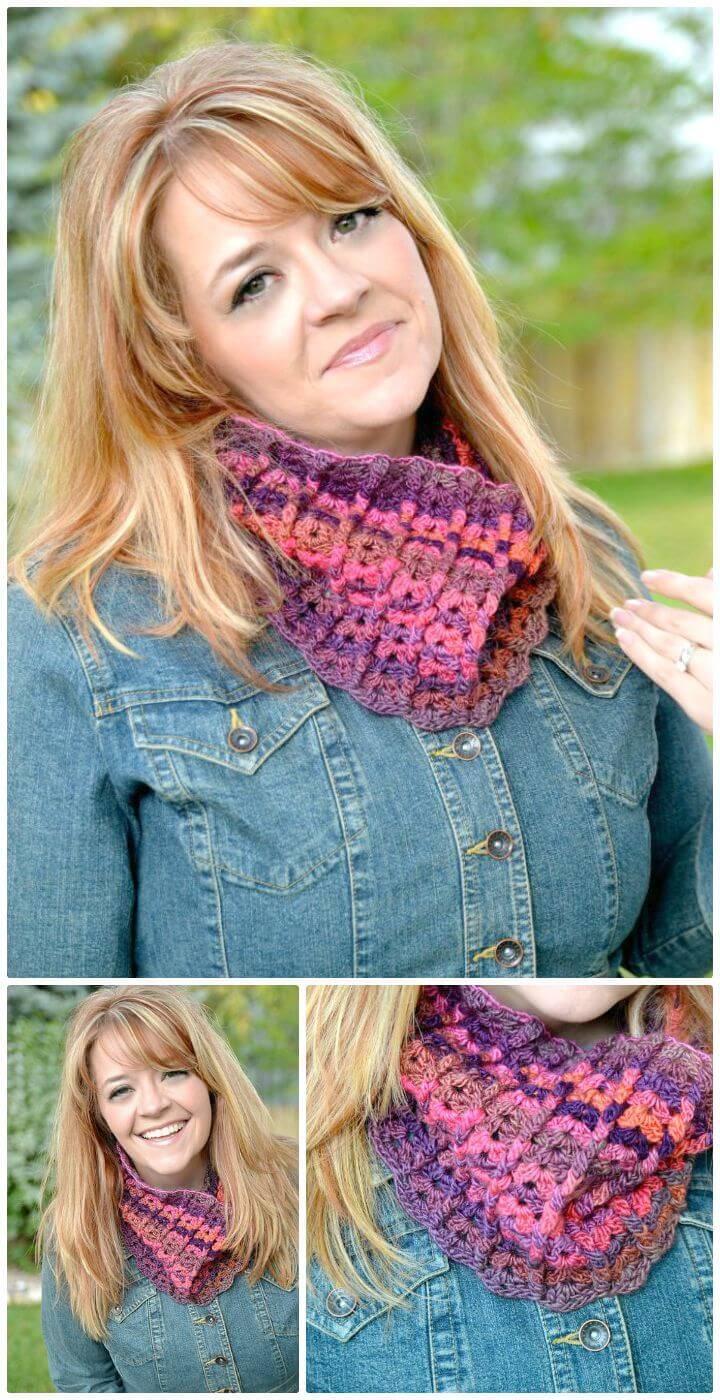 Easy Free Crochet Sherbet Cowl Pattern