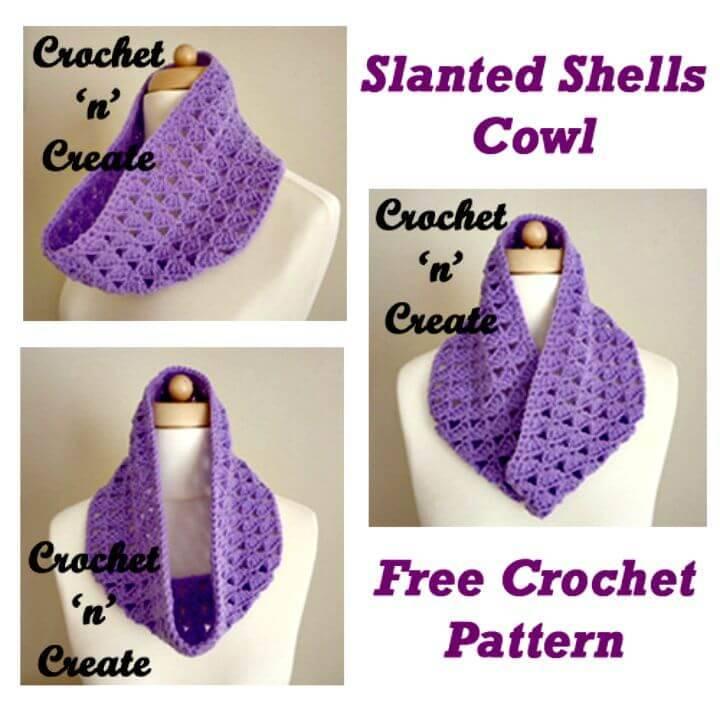 Free Crochet Slanting Shells Cowl Pattern