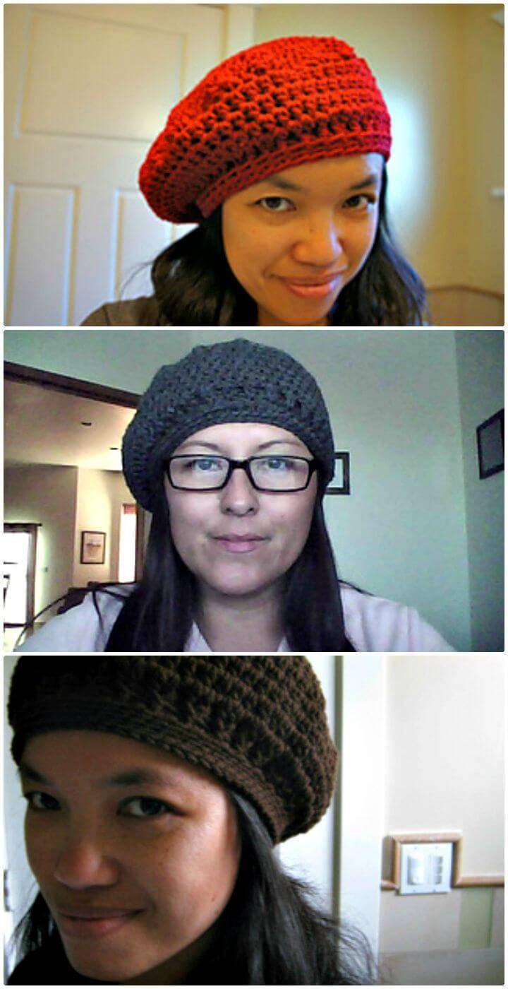 Easy Free Crochet Slouch Beret Hat Pattern