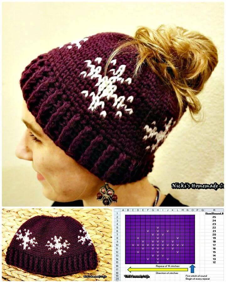 Free Crochet Snowflakes Messy Bun Hat Pattern