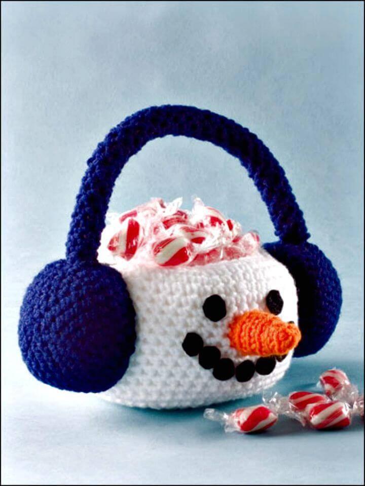 Free Crochet Snowman Basket Pattern