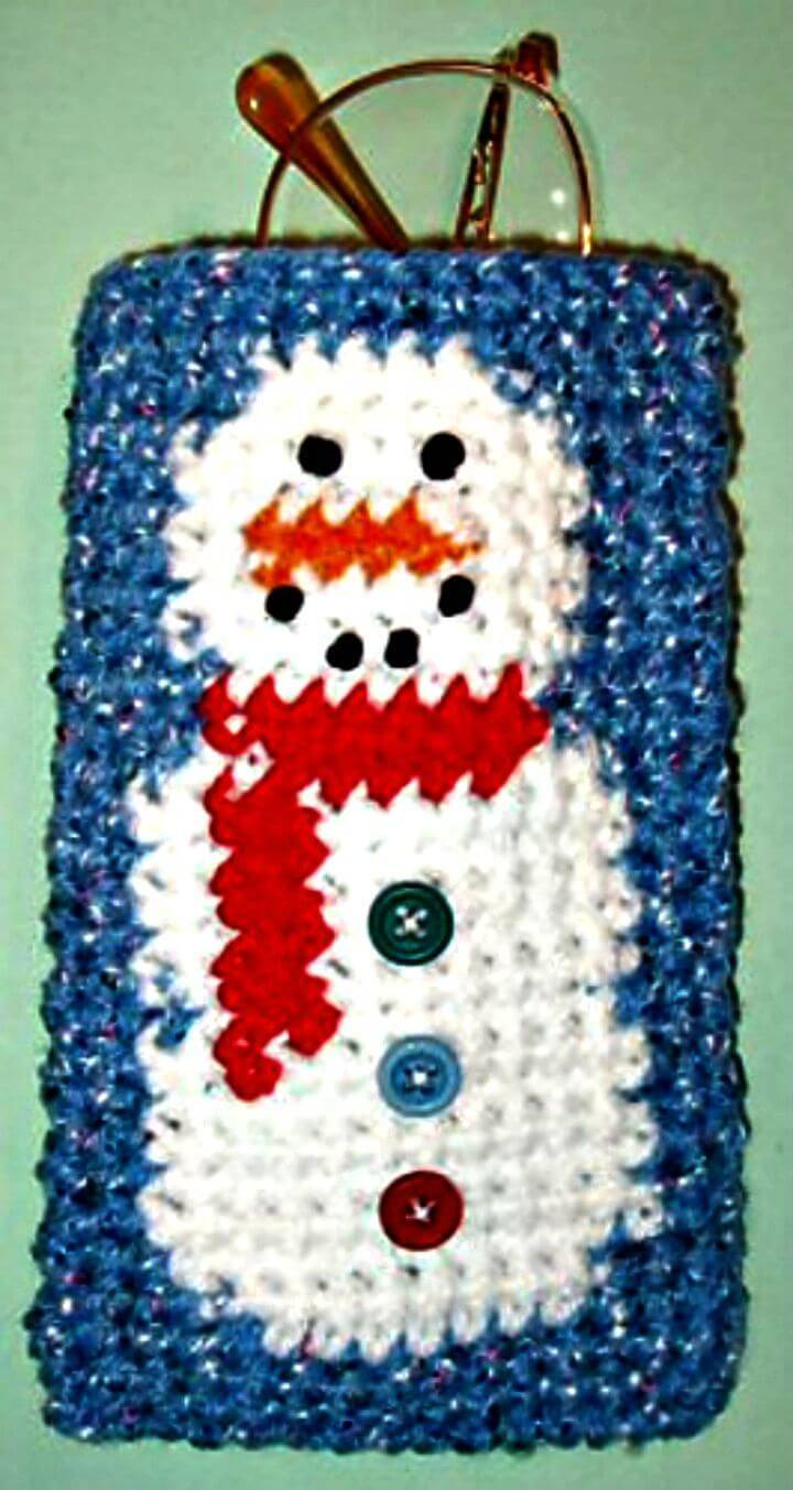 Easy Free Crochet Snowman Eyeglass Case Pattern