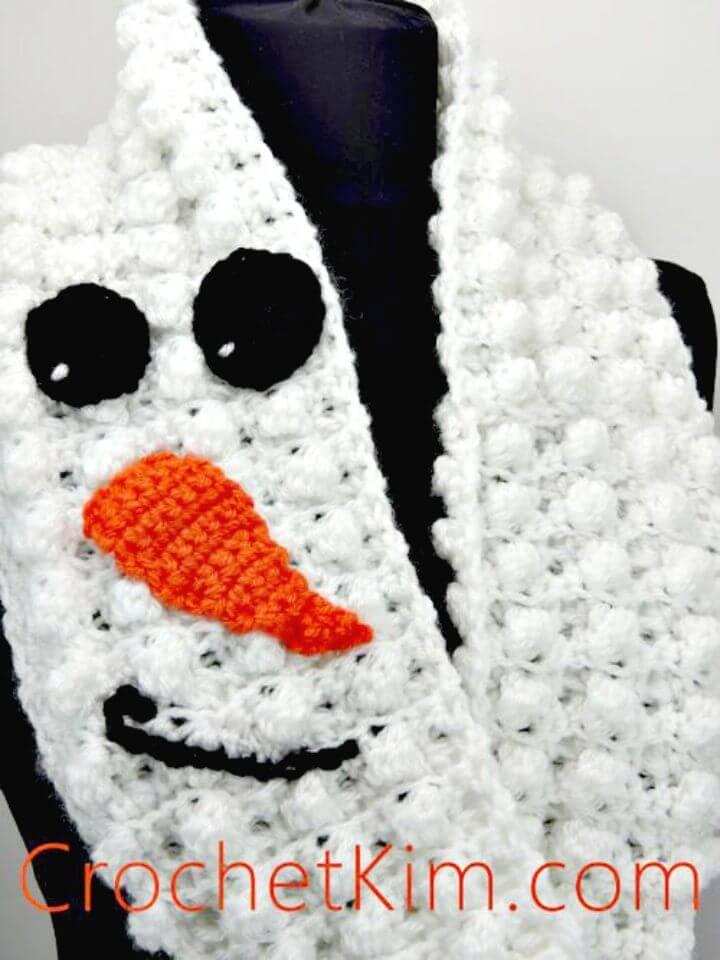 Easy Free Crochet Snowman Infinity Scarf Pattern