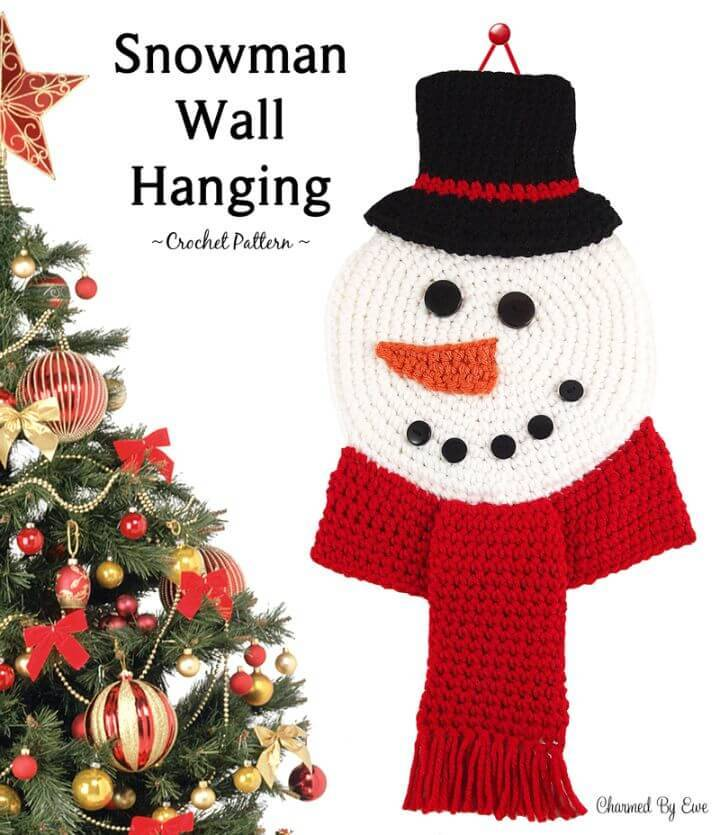 Free Crochet Snowman Wall Hanging Pattern